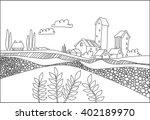 black and white village  field... | Shutterstock .eps vector #402189970