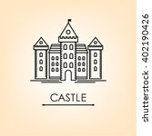 romanesque  castle line  tower  ... | Shutterstock .eps vector #402190426