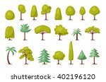 trendy set of different trees... | Shutterstock .eps vector #402196120
