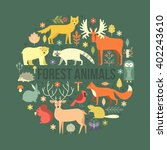collection of forest animals... | Shutterstock .eps vector #402243610