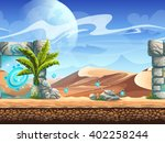 seamless desert with palms and... | Shutterstock .eps vector #402258244
