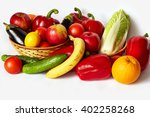 many tasty vegetables and fruit ... | Shutterstock . vector #402258268