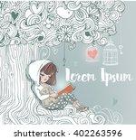 Little Girl Reading Under The...