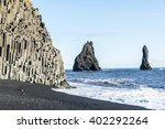 the famous black sand beach and ...   Shutterstock . vector #402292264