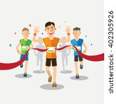marathon runners cross the... | Shutterstock .eps vector #402305926