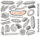 Sausages Set. Hand Drawn Vecto...