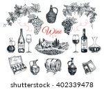 set of vine products.... | Shutterstock . vector #402339478