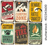 set of retro outdoor camp signs ... | Shutterstock .eps vector #402343600
