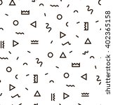 Geometric Vector pattern with black and white. Form a triangle, a line, a circle. Hipster fashion Memphis style. | Shutterstock vector #402365158