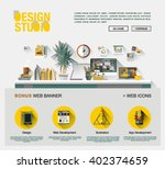 flat web design template of one ... | Shutterstock .eps vector #402374659