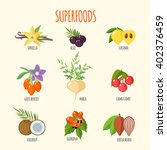 set of superfoods in flat style.... | Shutterstock .eps vector #402376459
