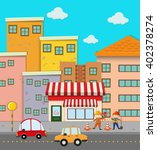 scene of buildings along the... | Shutterstock .eps vector #402378274