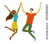 happy boy and girl jumping...   Shutterstock .eps vector #402380683