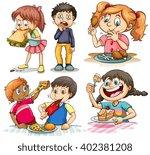 children eating different kind... | Shutterstock .eps vector #402381208