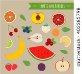 fruits and berries set.... | Shutterstock .eps vector #402385798