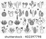 vector set of doodle cactus and ... | Shutterstock .eps vector #402397798