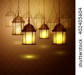 intricate arabic lamps with... | Shutterstock .eps vector #402405604