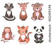 Stock photo woodland animals set of watercolor illustrations 402409198