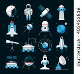 spacecrafts flat icons set with ... | Shutterstock .eps vector #402433816