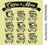 set of coffee menu with a cups... | Shutterstock .eps vector #402434080
