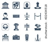 museum flat icon set with black ... | Shutterstock .eps vector #402434518