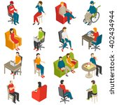 isometric icon set of diverse... | Shutterstock .eps vector #402434944