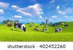 Farm Landscape With Cows...