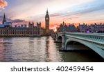 sunset over the city of... | Shutterstock . vector #402459454