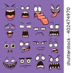 funny cartoon faces. vector... | Shutterstock .eps vector #402474970