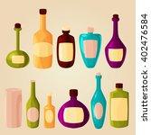 Set Of Cartoon Bottles And...