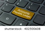 Small photo of Business Concept: Close-up the Accounts Payable Ledger button on the keyboard and have Gold, Yellow color button isolate black keyboard