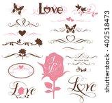 set of calligraphic love... | Shutterstock .eps vector #402518473
