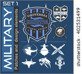 Set of military patches logos, badges and design elements. Graphic template. Vector illustration - stock vector