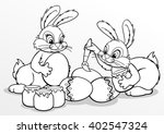 Coloring. Easter Bunnies Paint...