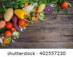 fresh vegetables on wooden... | Shutterstock . vector #402557230