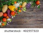 fresh vegetables on wooden... | Shutterstock . vector #402557323