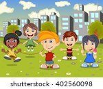 happy little kids playing on... | Shutterstock . vector #402560098