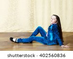little girl with long hair in a ... | Shutterstock . vector #402560836