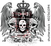 gothic coat of arms with skull  ... | Shutterstock .eps vector #402561094