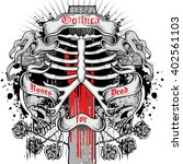 gothic coat of arms with skull... | Shutterstock .eps vector #402561103