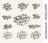 set of vintage vector followers ...   Shutterstock .eps vector #402611398