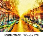 Stock photo amsterdam canal cityscape morning sun oil painting 402619498