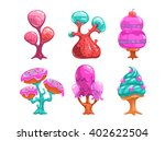 cartoon sweet candy trees ...