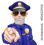 Serious Cartoon Police Officer...