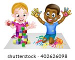 cartoon boy and girl playing... | Shutterstock . vector #402626098