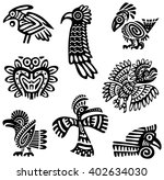 a set of tribal birds  black... | Shutterstock .eps vector #402634030