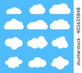 Cloud Vector Icon Set On Blue...