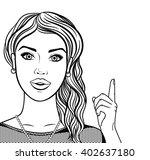 line art woman smiling face... | Shutterstock .eps vector #402637180