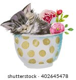 Stock photo kitten in the cup with flowers 402645478