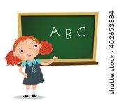 smart girl presenting something ... | Shutterstock .eps vector #402653884